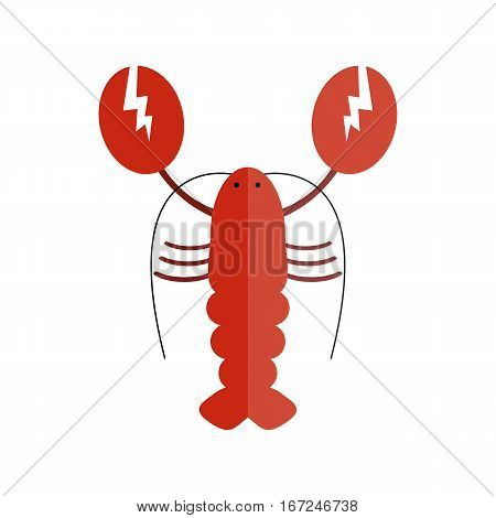 Lobster vector flat illustration isolated on white background. Fresh seafood icon claw meal. Gourmet crustacean cooked red dinner marine food delicious vector.