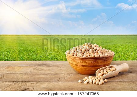 chickpeas grains in ceramic bowl. Chickpea in bowl on table with field of chickpeas on the background. Agriculture and harvest concept. Photo with copy space area for text. Green field, blue sky, sun