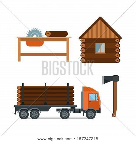 Lumberjack cartoon tools icons vector illustration. timber isolated on white background. Wood material nature industry design. Cutting deforestation elements equipment