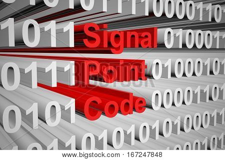 Signal point code in the form of binary code, 3D illustration