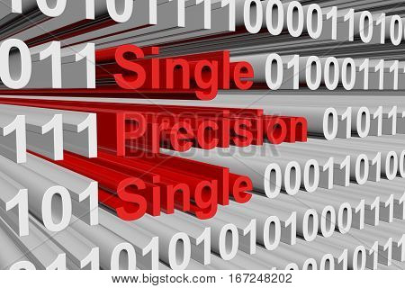single precision single in the form of binary code, 3D illustration