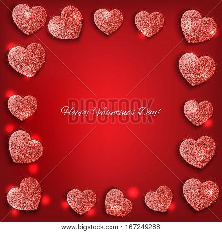 Festive background with hearts made of red glitters