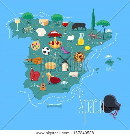 Map of Spain vector illustration, design element. Icons with Spanish flamenco, jamon, bullfighter, crown. Explore Spain concept image
