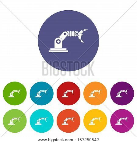 Robotic hand manipulator set icons in different colors isolated on white background