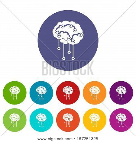 Sensors on human brain set icons in different colors isolated on white background