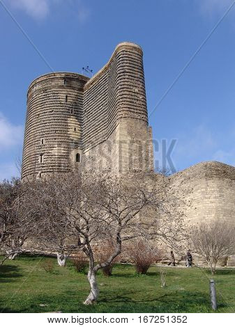 The Maiden Tower also known as Giz Galasi, located in the Down Town of Baku, Azerbaijan.