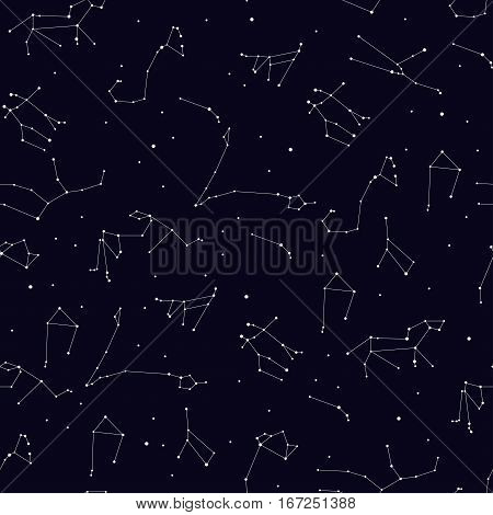 Vector seamless pattern with zodiac constellation. Space star pattern for paper textile polygraphy t-shirt game web design