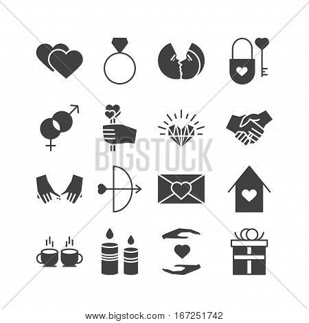 Vector Valentine Icons Set. Love couple relationship holiday theme. Black isolated silhouette icons for polygraphy web design logo app UI.