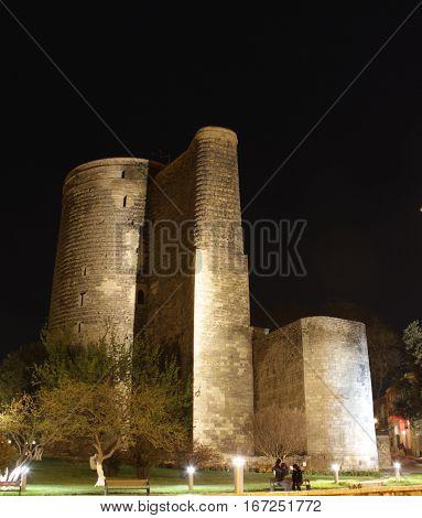 Night View at Maiden Tower in down town of Baku. Azerbaijan