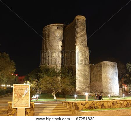Night View at Maiden Tower in down town of Baku. Azerbaijan poster