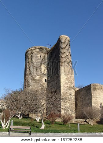 View at Maiden Tower in down town of Baku. Azerbaijan