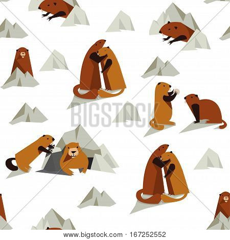 Vector seamless pattern with groundhogs. Rodent pattern for wrapping holiday textile polygraphy t-shirt game web design