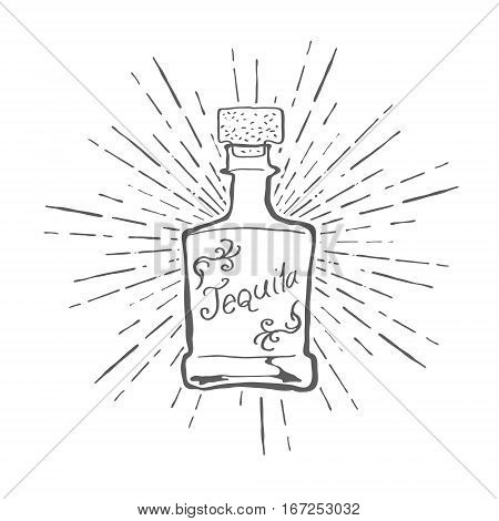 Vintage Tequila Bottle with Sunburst Vector illustration