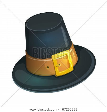 Colorful cartoon illustration of pilgrim hat with buckle, Thanksgiving Day symbol. Vector.