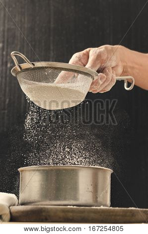 Bakery Product. Delicious Cooking For You. Cooking Process Concept. Flour And Sieve.