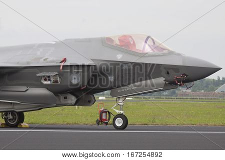 LEEUWARDEN, NETHERLANDS - JUNI 11 2016: Front of a new joint stright start Fighter, F 35 fighter jet