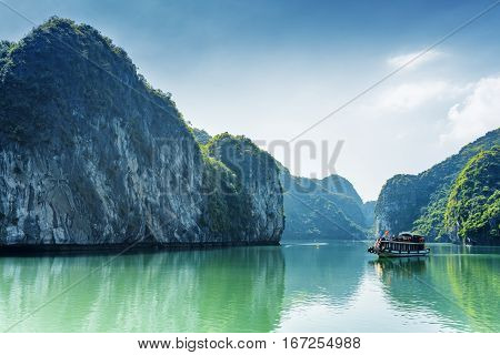 Tourist Boat In The Ha Long Bay Of The South China Sea, Vietnam