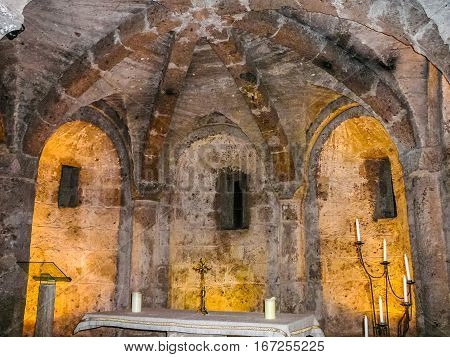 Hdr Santa Maria Assunta Cathedral Crypt In Sutri