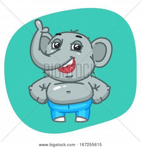Vector Illustration, Elephant in Jeans Pants Keeps Paws on Waist, Format EPS 8