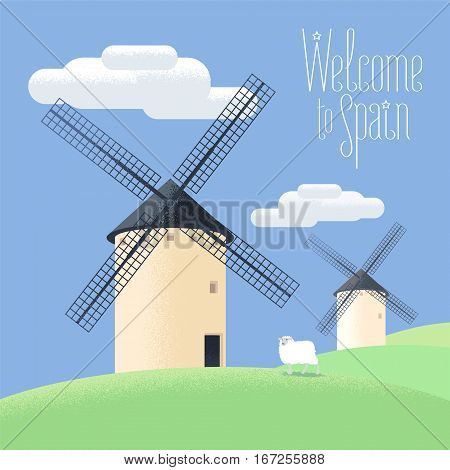Mills in Spain vector illustration. Landscape of rural Spain. Windmills clipart for agriculture theme