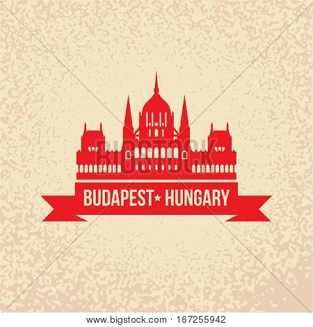 Hungarian Parliament Building also known as House of the Country, House of the Nation, the Parliament of Budapest. The symbol of Budapest, Hungary. Vector silhouette. Icon for travel agency.