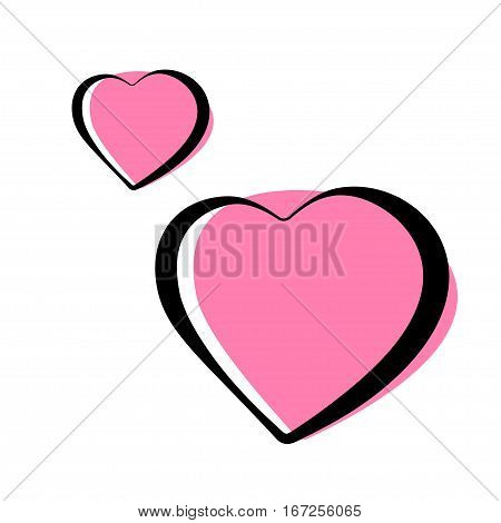 pair of pink heart icons. Stock vector illustration.