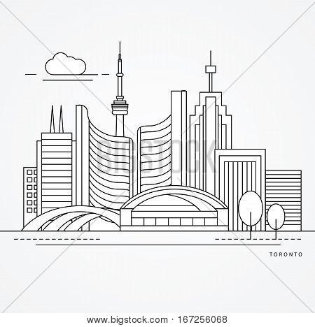 Linear illustration of Toronto, Canada. Flat one line style. Trendy vector illustration, Greatest landmark - City Hall