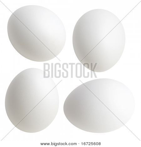 White eggs set on a white background (isolated with paths).