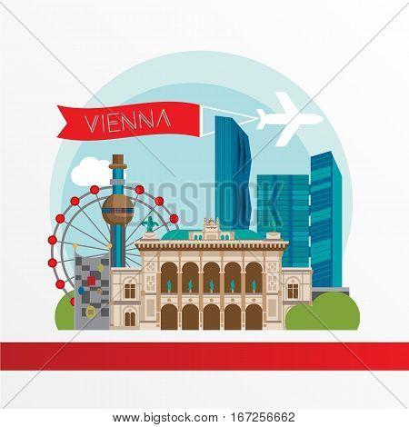 Vienna detailed silhouette. Trendy stylish colorful landmarks. The concept for a web banner. Vienna State Opera, Shpittelau incineration plant by hundertwasser, Twin and DC towers