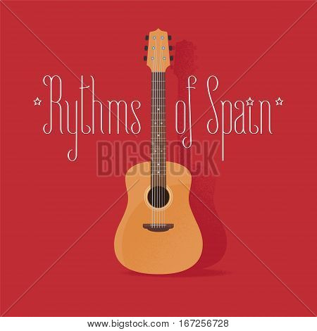 Traditional Spanish guitar vector illustration. Design element with acoustic musical instrument famous in Spain