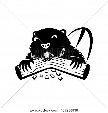 Beaver black sign on a white background.