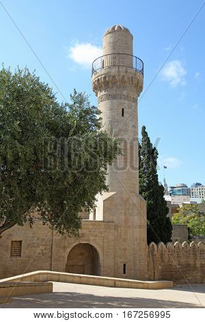 Minaret of Arab mosque in the Palace of Shirvanshahs in old town of Baku, Azerbaijan