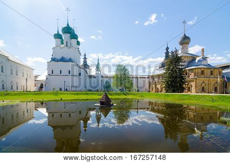 ROSTOV RUSSIA - MAY 3 2016: Hodegetria Church and Church of St. John the Evangelist in the Rostov Kremlin Yaroslavl oblast Russia. Golden Ring of Russia.