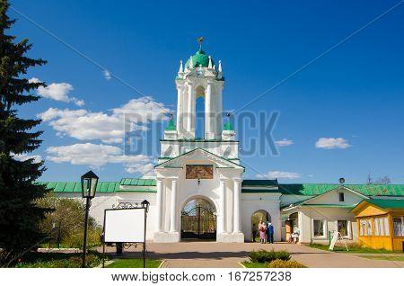 ROSTOV RUSSIA - MAY 3 2016: Gate of the Spaso-Yakovlevsky Monastery in Rostov Yaroslavl oblast Russia. Golden Ring of Russia.