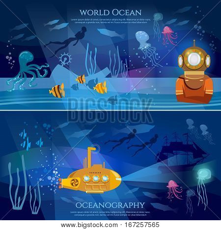 Sea exploration banner. Oceanography concept scientific research of sea and ocean yellow submarine underwater with periscope