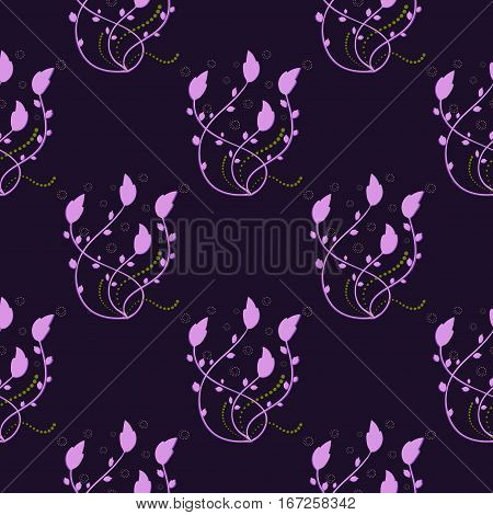 lilac floral pattern on a purple background, seamless pattern, vector illustration