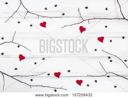 Minimalistic Frame With Branches, Hearts And Coffee Beans On White Table. Flat Lay, Top View