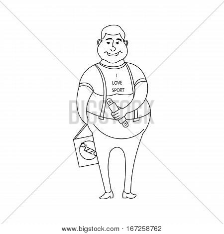 Young fat boy with the hot dog and pizza in a T-shirt, I love the sport isolated on white background in the style outline, cartoon character, concept of healthy food