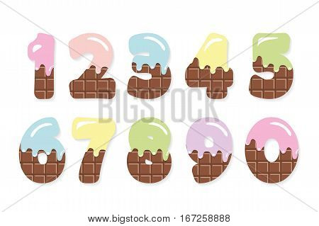 Funny numbers set for birthday design. Milk chocolate with melted colored cream. Isolated on white.