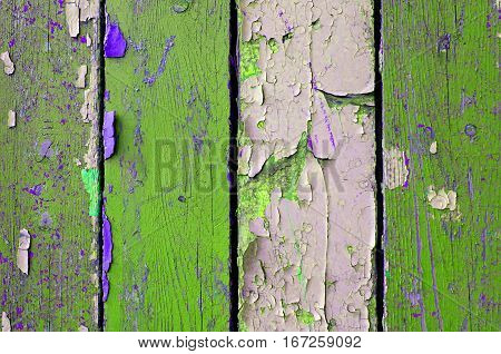 Texture wood background with texture peeling paint - texture background of chipped painted wooden surface. Closeup texture view