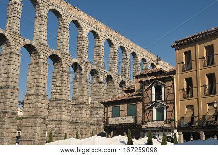 SEGOVIA, SPAIN - JULY 27, 2016: Segovia (Castilla y Leon Spain): the Roman aqueduct Unesco World Heritage Site
