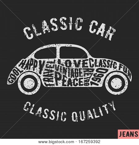 T-shirt print design. Classic car vintage stamp. Printing and badge applique label t-shirts jeans casual wear. Vector illustration.