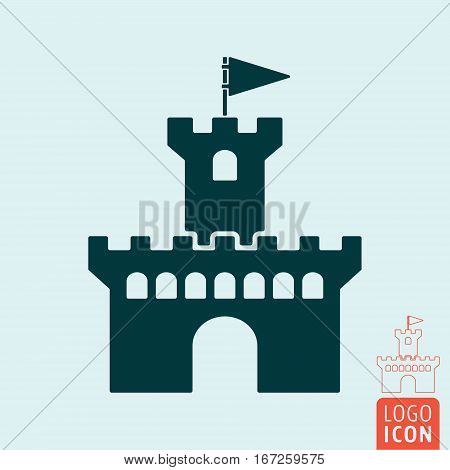 Fortress icon isolated. Medieval castle. Stronghold with tower and flag symbol. Vector illustration.