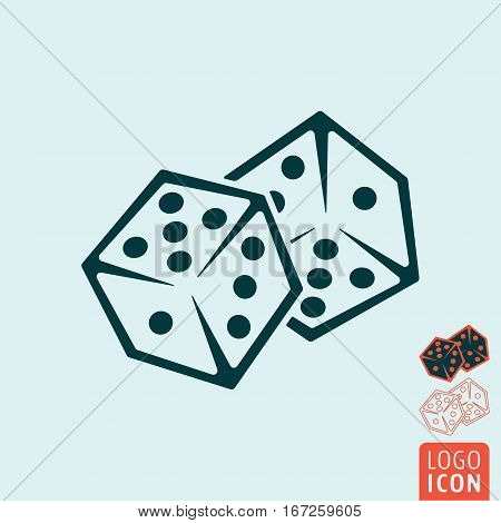 Dice icon. Two game dices. Casino symbol minimal design. Vector illustration