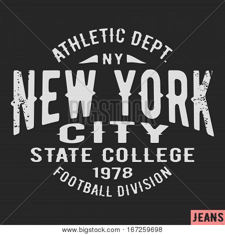 T-shirt print design. New York city vintage stamp. Printing and badge applique label t-shirts jeans casual wear. Vector illustration.
