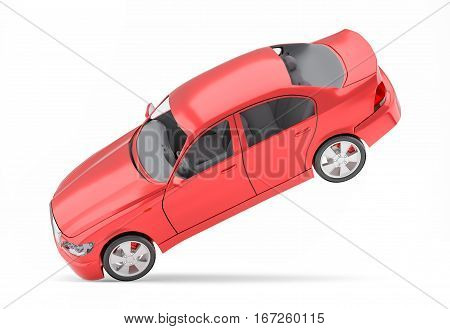 Brandless Generic Red Car. Isolated On White Background. 3D Illustration