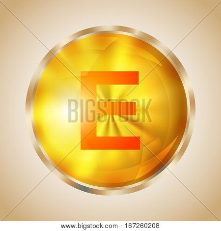 Vitamin E gold shining pill icon. Tocopherol capsule symbol. Vector illustration.