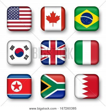 Set of world flags quadrangular badges ( USA . Canada . Brazil . South korea . United kingdom of great britain . Italy . North korea . South africa . Bahrain )