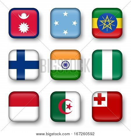 Set of world flags quadrangular badges ( Nepal . Micronesia . Ethiopia . Finland . India . Nigeria . Monaco . Algeria . Tonga )