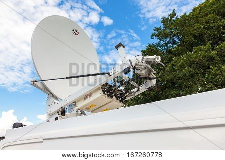 MOSCOW RUSSIA - JULY 30 2016: Satellite dish mounted on the roof of mobile television station